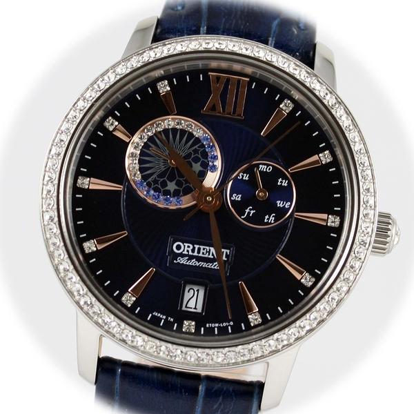 【萬年鐘錶】ORIENT 東方 璀璨星辰 鑲嵌施華洛世奇水晶  錶背鏤空機械錶   午夜藍 36mm SET0W002D