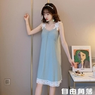 韓版性感睡裙女夏季無袖吊帶胸墊簡約少女寬鬆清新純棉睡衣家居服 自由角落