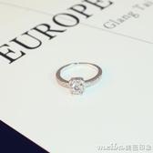 微鑲鋯石閃亮爆款網紅鑲鑽皇冠鑽戒指女指環百搭鑲鑽女戒指食指環 美芭