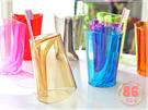 多功能糖果色傾斜二合一洗漱杯 盥洗用具 漱口杯 牙刷架 隨機出貨不挑款◆86小舖◆