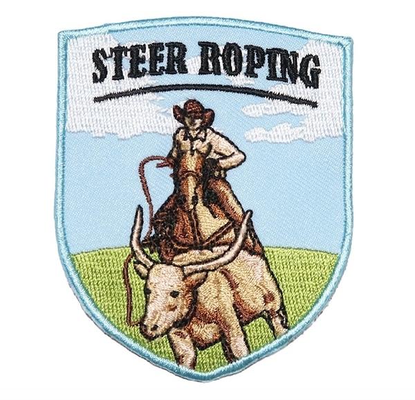 牛仔抓小牛 STEER ROPING 地標電繡徽章 胸章 立體繡貼 裝飾貼 繡片貼 燙布貼紙