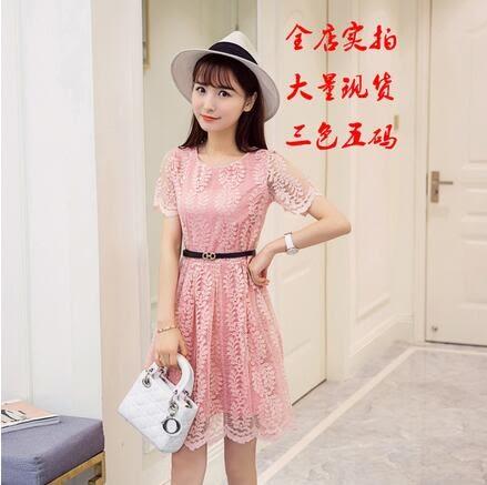 【AU04】韓版女裝修身顯瘦短袖鏤空蕾絲連身裙中裙 洋裝312