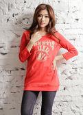 【BTIS】寬版口袋女七分袖T恤 紅色