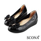 SCONA 全真皮 舒適輕量厚底鞋 黑色 22337-1