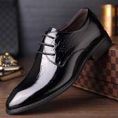 男皮鞋 正裝皮鞋 秋冬皮鞋男士商務正裝頭層牛皮系帶亮面婚鞋髮型師商務男鞋子《印象精品》q514