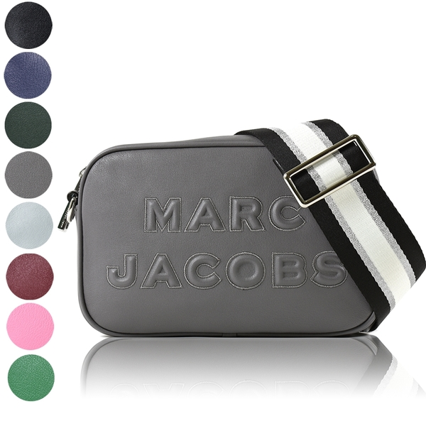 美國正品 MARC JACOBS 浮雕LOGO牛皮拉鍊寬背帶相機包-多色任選【現貨】