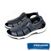 【PEGADA】巴西名品真皮休閒涼鞋  藍色(132202-NA)