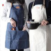 牛仔風真皮帆布圍裙廚房帆布無袖圍裙男女工作服