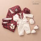 【金安德森】滿月兔裝禮盒秋冬款-長兔裝+經典紅格包巾