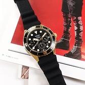 FOSSIL / FS5729 / 三眼計時 潛水風格 水鬼錶 日期 防水100米 矽膠手錶 黑x金框 46mm