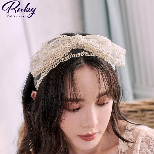 髮飾 刺繡蕾絲雙層大蝴蝶結髮箍-Ruby s 露比午茶