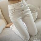 秋冬季白色牛仔褲女 韓版高腰顯瘦長褲子 修身彈力窄管鉛筆褲 深藏blue