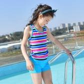 新款分體兒童游泳衣 女孩保守運動風平角褲中小童女童游泳裝 依夏嚴選