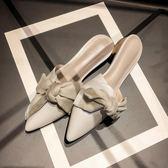 韓版尖頭蝴蝶結低跟涼拖鞋