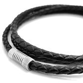 《 QBOX 》FASHION 飾品【LN19010717】精緻個性黑色編織真皮革磁扣鈦鋼項鍊子/黑皮繩(0.3cm)