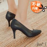 Ann'S舒適療癒系-V型美腿棉羊皮尖頭跟鞋-深藍