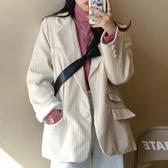 西裝外套 西裝外套女秋冬百搭氣質2020新款春秋季韓版燈芯絨白色小個子西服
