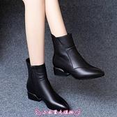 短靴 平底加絨軟皮女粗跟低跟秋冬新款鞋子皮鞋棉鞋馬丁靴 - 小衣里大購物