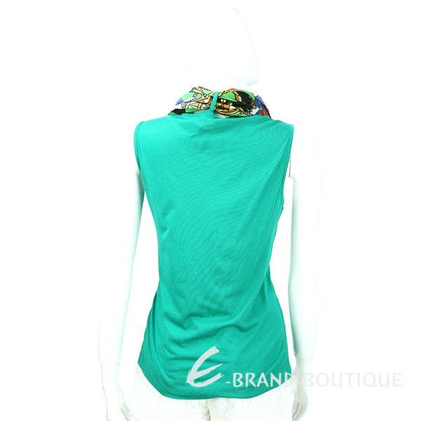 LOVE MOSCHINO 綠色印花領巾拼接無袖針織上衣 1620174-08