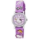 Hello Kitty 甜蜜蘋果造型腕錶-紫