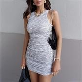 無袖洋裝 無袖氣質連衣裙女2021夏歐美ins新款修身顯瘦設計感緊身包臀短裙 非凡小鋪