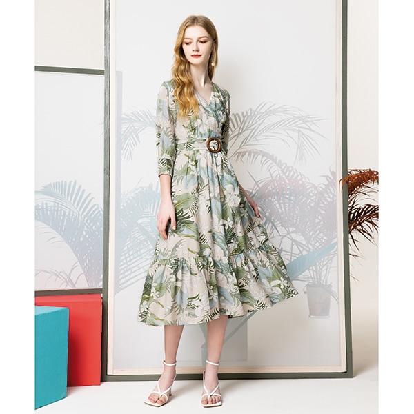 IENA 2021 Spring #1274001 木環腰帶印花洋裝