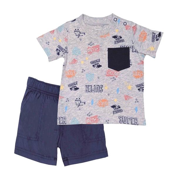 男寶寶套裝二件組 短袖T恤上衣+短褲 灰飛機 | Carter s卡特童裝 (嬰幼兒/小孩/baby)