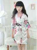 女童睡袍睡裙薄款仿真絲綢夏季可愛日式和服公主兒童睡身家居服