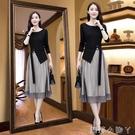 莫吉長袖連衣裙女洋氣兩件套2020年新款春秋季輕熟套裝早秋裙子女 蘿莉新品