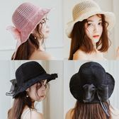 韓版綢緞大蝴蝶結棉麻遮陽帽子女夏沙灘可折疊太陽帽 LL121『美鞋公社』