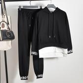 秋季時尚帥氣bf休閒運動學生寬鬆同款嘻哈衣服女酷潮網紅兩件套裝 聖誕節交換禮物