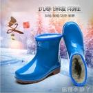 冬季加厚加絨保暖棉雨鞋女士雨靴外穿防滑防水鞋成人短筒套鞋膠鞋 蘿莉新品