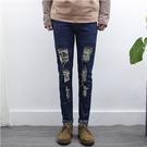 找到自己品牌 2017新款 男生修身 韓版潮流 補丁貼布破洞牛仔褲小腳褲