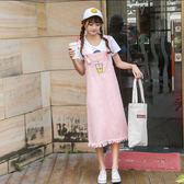 閨蜜裝姐妹裝夏季韓版甜美學生小清新可愛繡花中長款牛仔背帶裙女   限時八折嚴選鉅惠