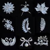 奢華大氣鑲鋯石胸針胸花女配飾簡約別針裝飾絲巾扣氣質首飾品