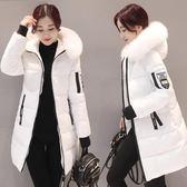 棉衣女中長款加厚款韓版修身連帽大毛領羽絨棉服大碼棉襖外套