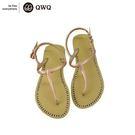 QWQ創意鞋-香檳金 夾腳人字拖涼鞋(涼...