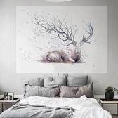 背景布ins掛布宿舍床頭墻布掛毯裝飾韓國房間少女臥室拍照麋鹿