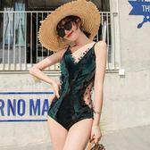 連身泳衣 網紅ins金絲絨游泳衣 女連體性感遮肚顯瘦保守小胸聚攏泡溫泉度假