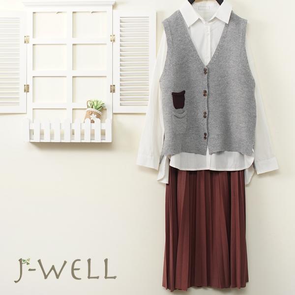 J-WELL 素面好感襯衫針織背心長裙三件組(組合A771 8J1457白+9J1101灰+9J1078紅)