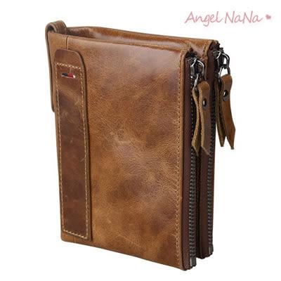 真皮短夾-瘋馬牛皮雙拉鍊男士皮夾皮包錢夾零錢包2折男包男夾 Angelnana (SMA0213)