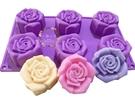 心動小羊^^六孔六連6孔6連新款仿真玫瑰矽膠模巧克力模具 蛋糕模 手工皂 矽膠模具皂模