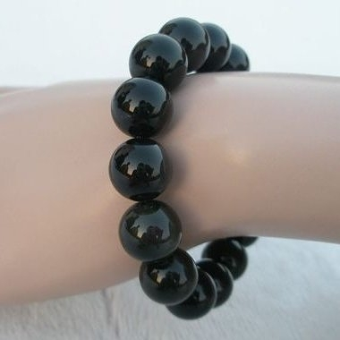【歡喜心珠寶】【天然黑玉髓圓珠12mm手鍊】16顆「附保証書」佛教七寶之一黑玉髓天珠