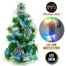 【摩達客】台灣製迷你1呎/1尺(30cm)裝飾綠色聖誕樹((藍銀色系)+LED20燈彩光插電式(樹免組裝)