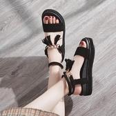 厚底鞋 韓版平底羅馬鞋女夏季新款厚底鬆糕原宿風涼鞋百搭學生女鞋子 芊惠衣屋
