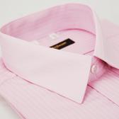 【金‧安德森】粉紅色類絲質窄版短袖襯衫