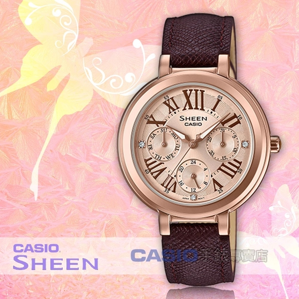 CASIO 卡西歐 手錶專賣店 SHEEN SHE-3034GL-7A2 主題色系列 優雅三眼女錶 皮革錶帶 SHE-3034GL