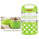 韓國 NEOFLAM 雙層圓型保溫便當盒(綠色) 930ml【新高橋藥妝】雙層不銹鋼保溫餐盒