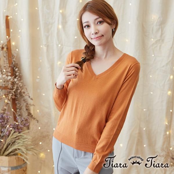 【Tiara Tiara】七色選 V領縮口長袖針織上衣(藏青/條紋/寶藍/灰/棕/紅/黑) 激安