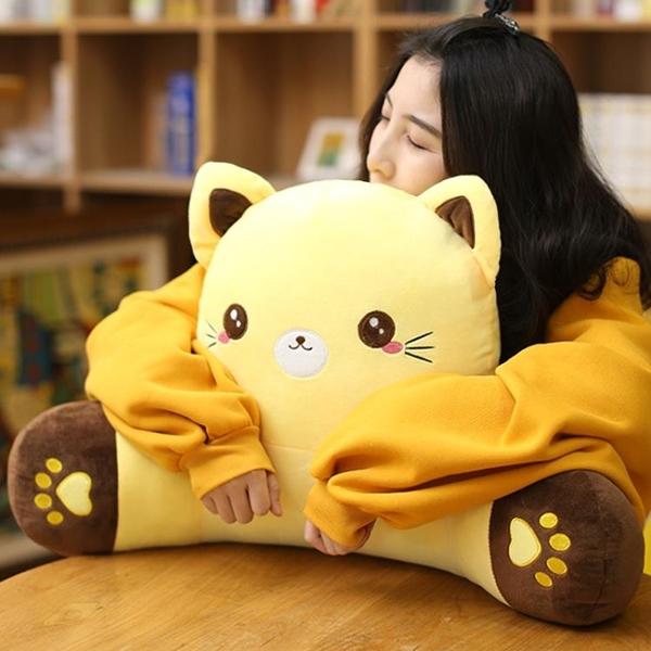 貓咪靠枕護腰靠墊辦公室學生卡通椅子腰靠午睡抱枕靠背墊沙發 七色堇